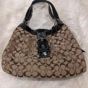 Vintage Coach Fabric Hobo Purse